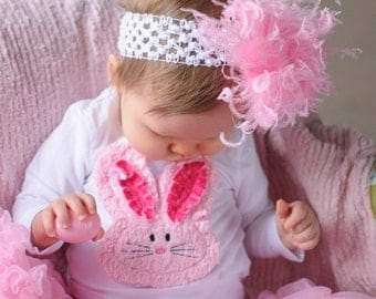 Pink and White Easter Shabby Chenille Chic Bunny Shirt 6-12 12-18 24 month 3T 4T 5T Free Shipping On All Addional Items