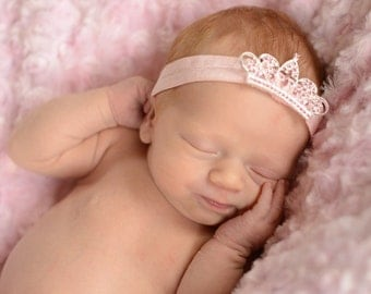Silver Bling Princess Crown On Pink Elastic Headband Free Shipping On All Additional Items