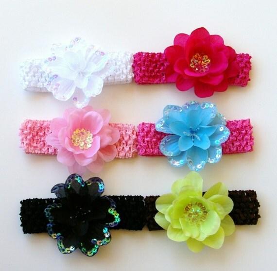 Set of 6 Sequin Flowers with Matching Headbands Starter Gift Set Free Shipping On All Additional Items