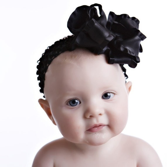 Large Double Layered Black Double Ruffle Bow with Crocheted Headband Free Shipping On All Additional Items