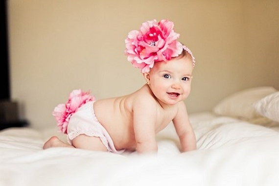 Diaper Cover and Headband Set HUGE Pink Peony Hair Flower with Beautiful Bling Center Headband Free Shipping On All Additional Items