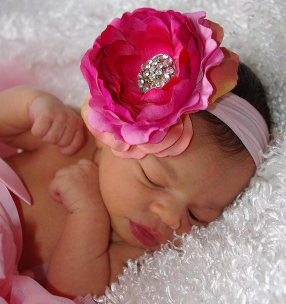 Dusty Rose Pink Ranuculus Hair Flower with Beautiful Bling Center Attached to Headband Free Shipping On All Additional Items