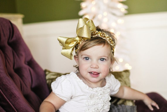 Large Double Layered Metallic Gold Christmas Bow with Crocheted Headband of Choice Free Shipping On All Additional Items