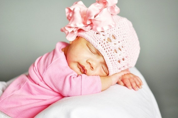 Large Double Layered Double Ruffle Bow with Infant Crocheted Beanie FREE SHIPPING ON ALL ADDITIONAL ITEMS