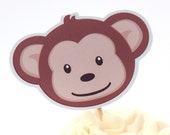 Monkey Birthday Party - Set of 48 Mod Monkey Cupcake Toppers by The Birthday House