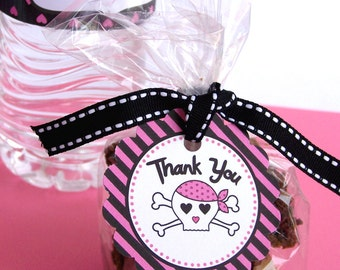 Pink Pirate Party Collection - Printable Favor Tags by The Birthday House