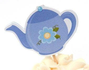 Tea Party - Set of 12 Teapot Cupcake Toppers by The Birthday House