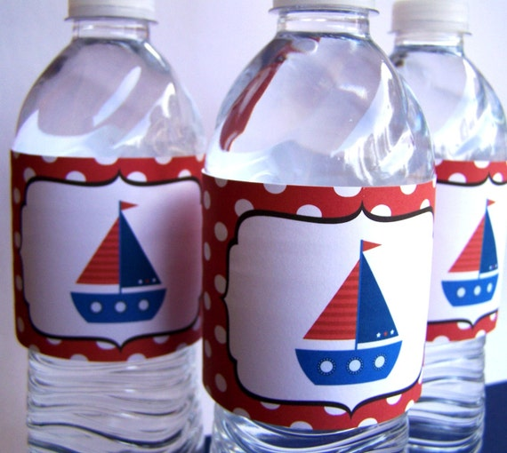 Nautical Event Decor: Nautical Party Decor Printable Water Bottle Labels The