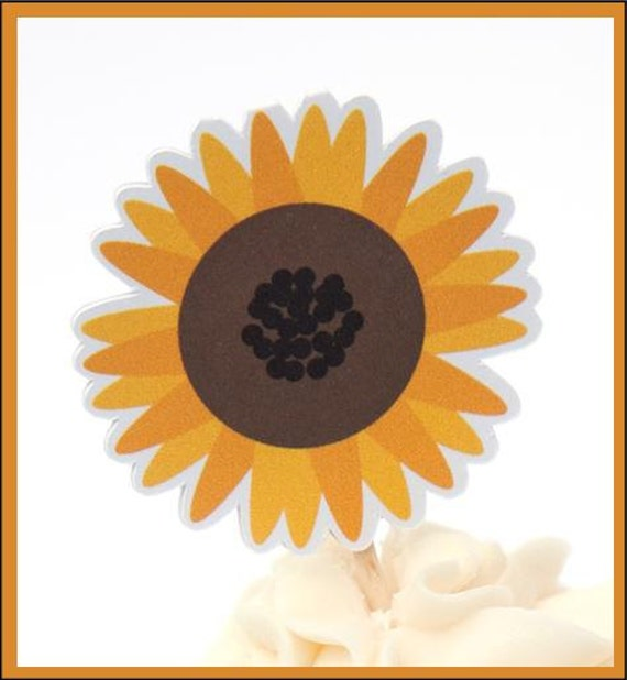 Garden Party - Set of 12 Sunflower Cupcake Toppers by The Birthday House