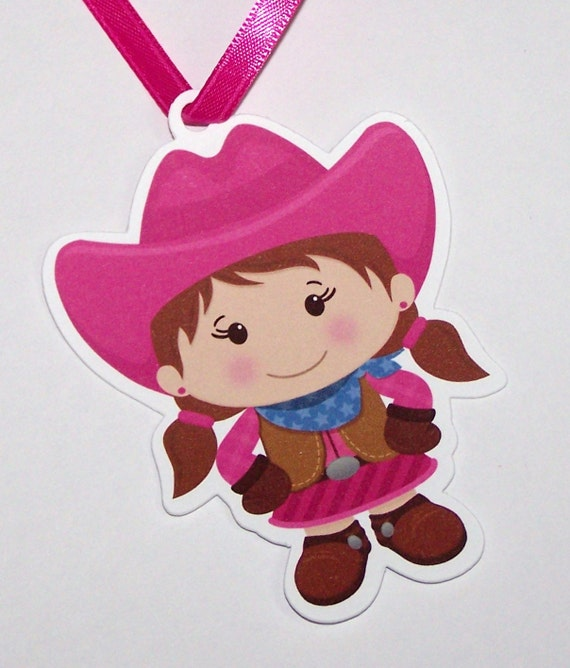 Cowgirl Party - Set of 10 Little Cowgirl Favor Tags by The Birthday House
