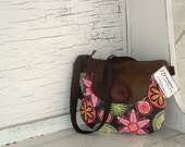Brown and Pink Laminated Cotton Mini Messenger Purse
