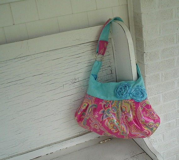 Hot Pink & Aqua Paisley Laminated Cotton Slouch