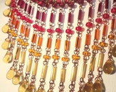 Firebird Necklace: Red, Orange, and Yellow Bugle Beads on Copper Wire with Yellow Glass Drops