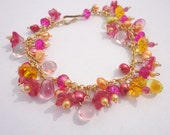 Ruby Red Grapefruit Bracelet - Charm Bracelet with Flowers and Beads in Pink, Fuchsia, and Yellow