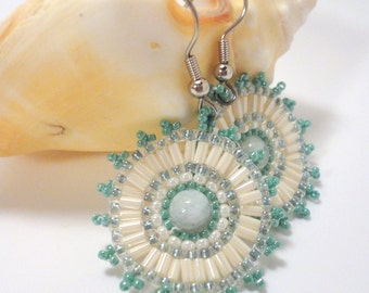 Sea Green Beaded Earrings: Aquamarine Stones with Sea-Green and Cream Seed Beads
