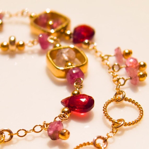 Pink Topaz, Garnet and Rose Tourmaline with Gold Vermeil Rings and Squares Necklace