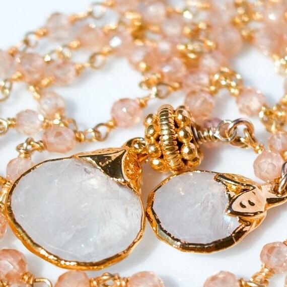 Double Moonstone Double Strand Handmade Necklace