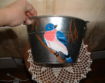 Painted Bird Pail or Bucket for Mom