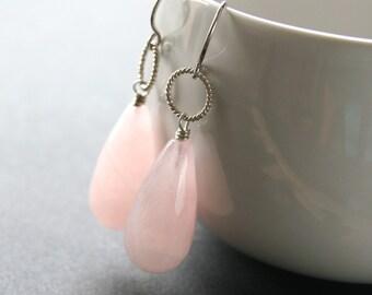 Rose Quartz Earrings . Rose Quartz Briolette Sterling Silver Earrings