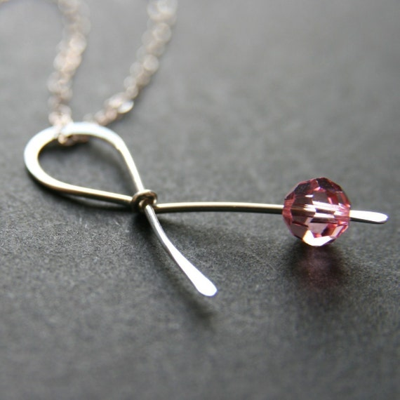 Pink Ribbon Sterling Silver Necklace . Hope