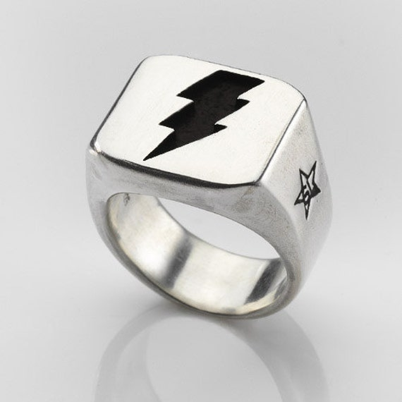 Lightning Bolt  Ring in Solid Sterling Silver. Pure Rock Attitude for Guys and Girls.