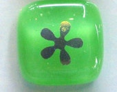 SALE - dichro flowers on lime green - fused glass buttons (set of 3)