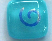 SALE - dichro swirls on aqua - fused glass buttons (set of 3)