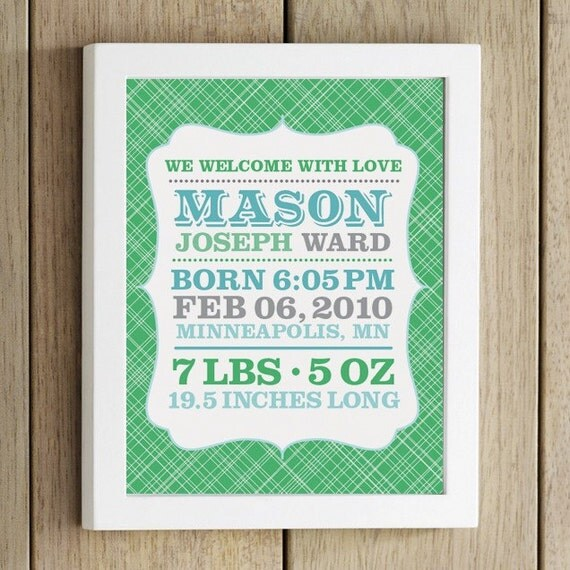birth announcement print, personalized nursery decor, personalized baby gift, new mom gift, custom nursery art
