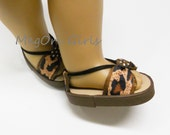 """American Girl 18"""" Doll Shoes Sandals Leopard Prints Brown - Handmade"""