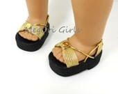 """American Girl 18"""" doll metallic sandals RADIANCE in gold or silver Made to Order"""