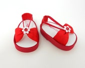 """18"""" dolls American Girl sandals shoes red on white handmade"""