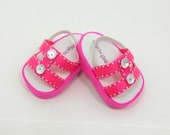 """American Girl 18"""" doll shoes sandals hot pink double band style"""