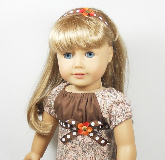 "18"" Doll American Girl Clothes - Peasant  Dress Paisley Prints Peach with Brown trims plus headband"