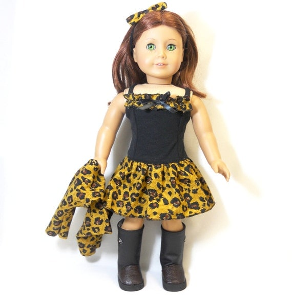 "18"" Doll American Girl Leopard Dress Yellow Black and Brown Prints Includes Shrug, and Hair Bow"