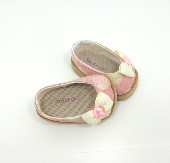 """American Girl 18"""" doll shoes slip on ballet flats pale pink fabric with polka dots"""