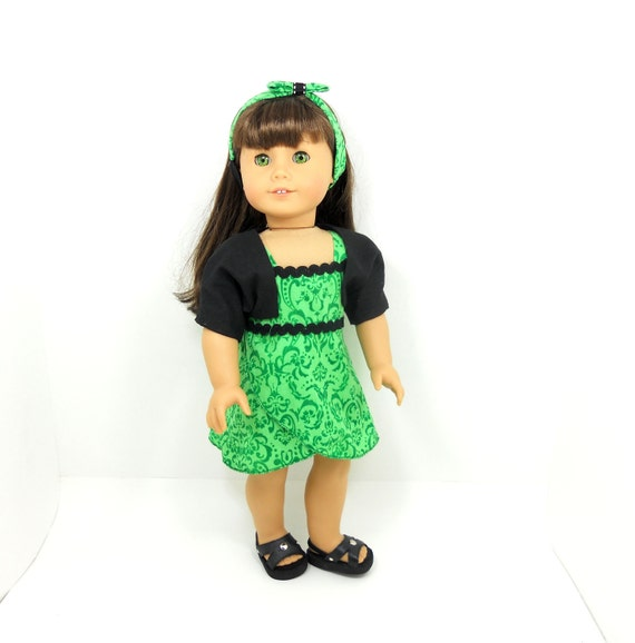 """American Girl 18"""" doll clothes wrapped dress green damask prints includes shrug and hair band"""