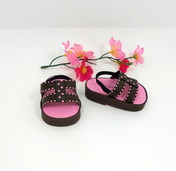 """American Girl 18"""" doll shoes sandals pink and brown double band style"""