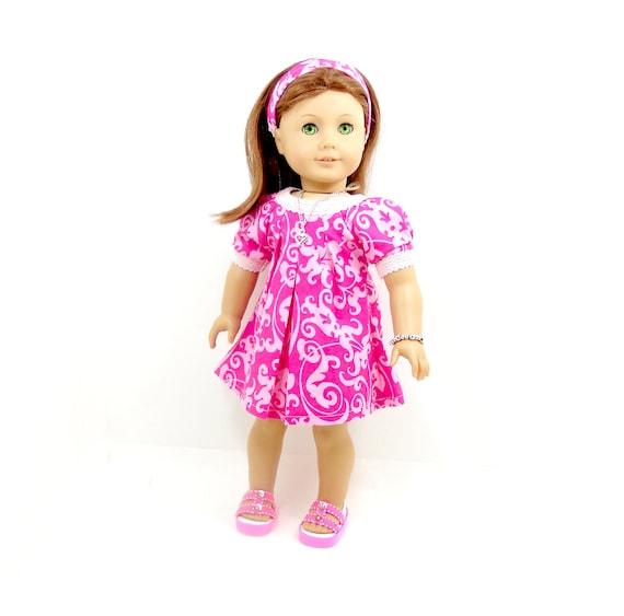 "18"" doll American Girl swing dress pink swirly prints includes headband and bracelet"
