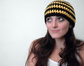 Crochet Hat, Hand Made, Bumblebee Yellow and Black