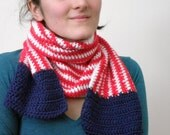 Crochet Scarf, Handmade, American Flag, Red White and Blue Striped