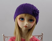 Purple Crochet Hat for SD BJD, 1/3 Dollfie, SD -New Style-