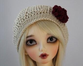 """MSD Tan Crochet BJD Hat - 1/4 Dollfie - Minifee - 7"""" Head - Fits 7-8 Wig Size - Mnf abjd Doll Clothes"""