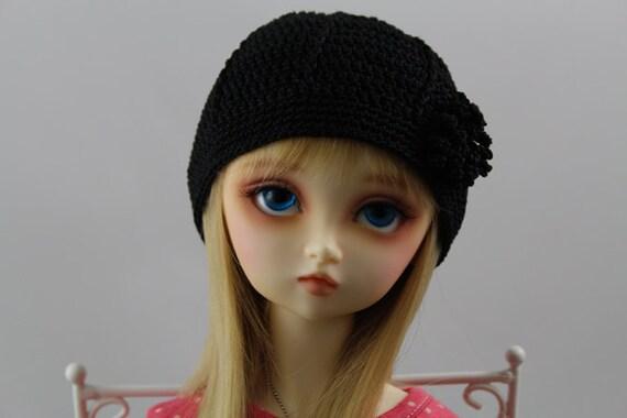 Black Crochet Hat for SD BJD, 1/3 Dollfie, SD -New Style-