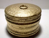 Vintage Gold Painted Round Wood Box Home Decor Collectible 3""