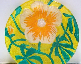 Vintage Hand Painted Floral Textured Glass Dish