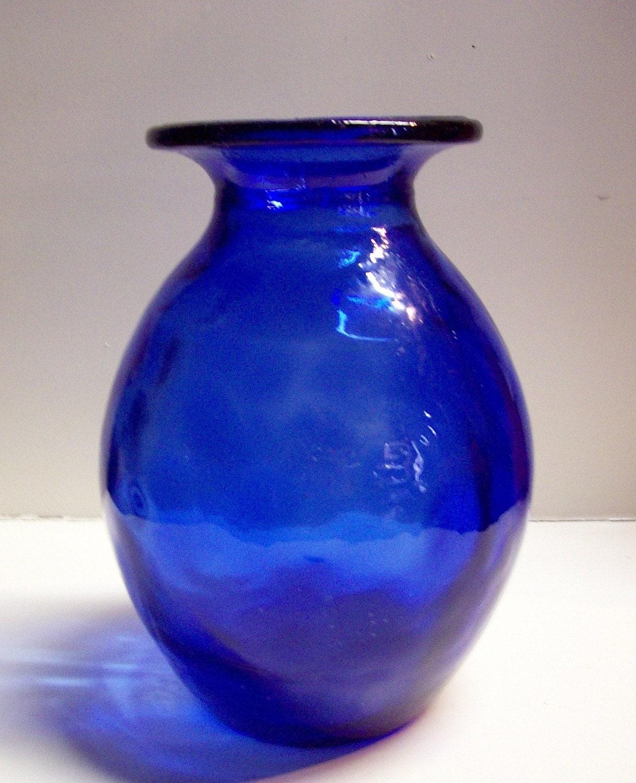 Cobalt Blue Art Glass Round Vase 10