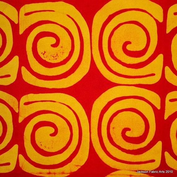 SALE - Hand Dyed Batik Fat Quarter in Yellow and Red Caracol