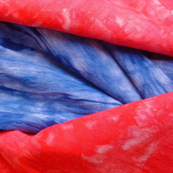 Silk Hemp Fabric Bundle Hand Dyed in Blue and Red