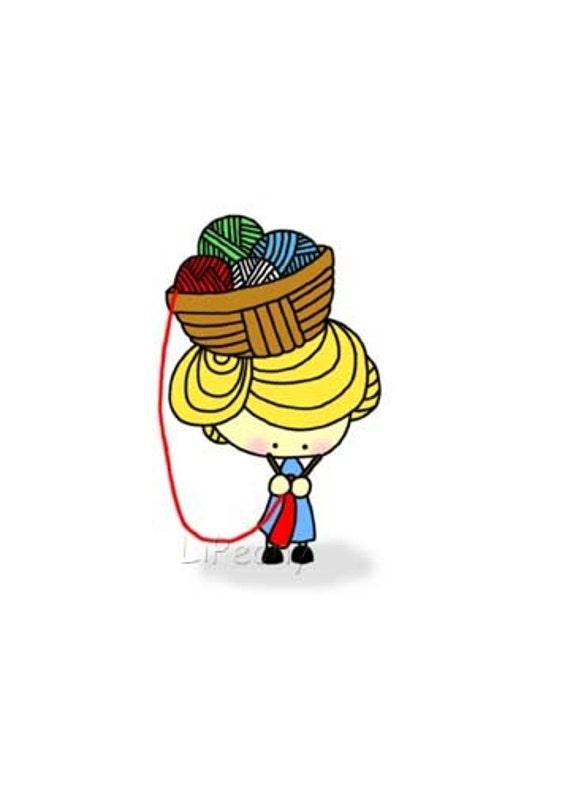 Yarn Basket Head 5 x 7 Art Print