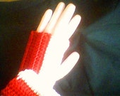 Fingerless Texting Gloves and Wrist Warmers - Red/White